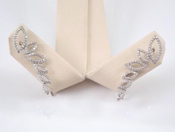 Diamond Ear Climber Earrings Crawler White Gold Modern Wedding Gift