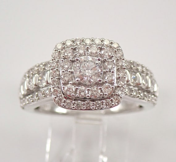 14K White Gold 1.30 ct Diamond Engagement Ring Double Halo Cushion Shape Size 7