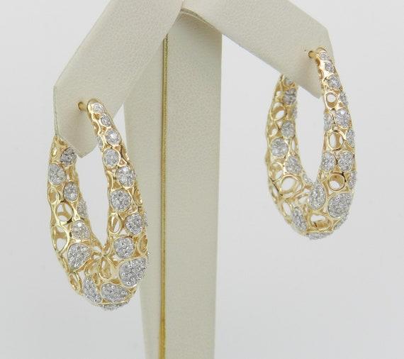 14K Yellow Gold Large Diamond Hoop Earrings Diamond Hoops Unique Bubbles Design