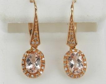 Morganite and Diamond Halo Dangle Drop Earrings Rose Gold Unique Gemstone Leverback
