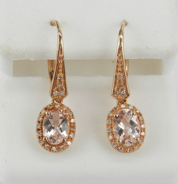 Rose Gold Morganite and Diamond Dangle Halo Earrings Leverback Clasp
