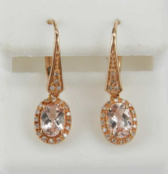 Morganite Earrings, Morganite and Diamond Dangle Earrings, Rose Gold Gemstone Earrings, Halo Earrings, Leverback Clasps