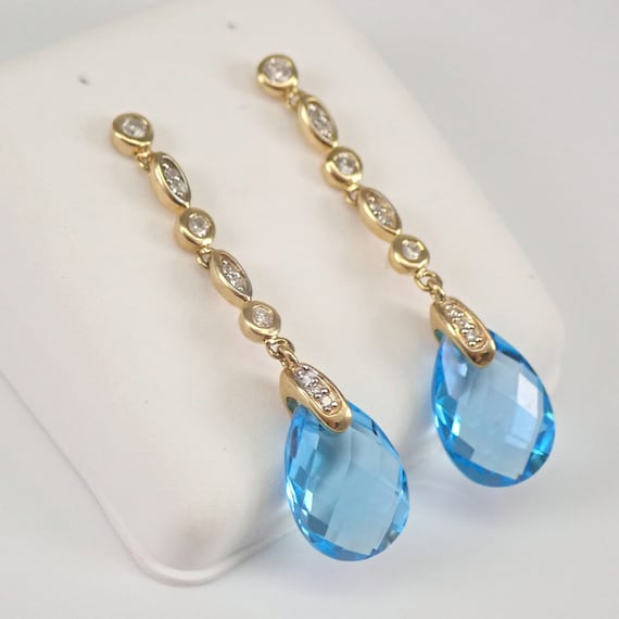 Yellow Gold Diamond and Blue Topaz Briolette Dangle Drop Earrings December Gemstone
