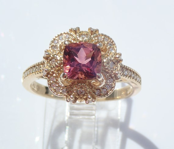 Cushion Cut Pink Tourmaline and Diamond Engagement Ring 14K Yellow Gold Size 7 Vintage Style