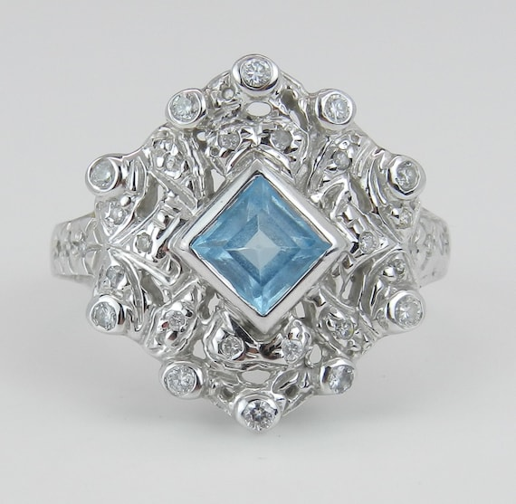 SUPER SALE! Diamond and Princess Cut Blue Topaz Statement Ring Estate Vintage Ring 14K White Gold Size 8.5
