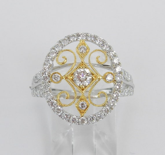 18K White and Yellow Gold 1.12 ct Diamond Cluster Cocktail Filigree Ring Size 7 F VS FREE Sizing