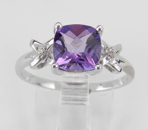 Diamond and Amethyst Ring, Cushion Cut Engagement Ring, White Gold Amethyst Ring, Size 7, February Gemstone FREE Sizing