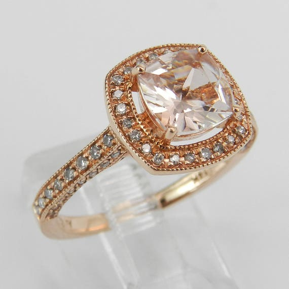 Morganite and Diamond Halo Engagement Ring 14K Rose Gold Size 7 Cushion Cut