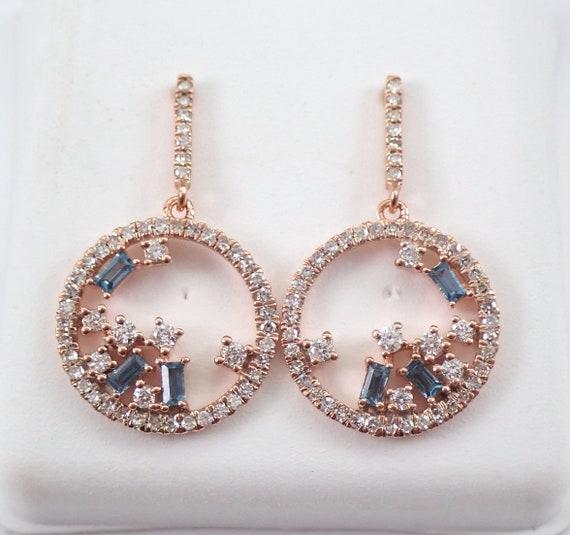 Diamond and Blue Topaz Earrings Dangle Drop Unique Circle Earrings Rose Gold
