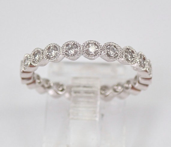 18K White Gold Diamond Eternity Wedding Ring Anniversary Band Stackable Size 6.75