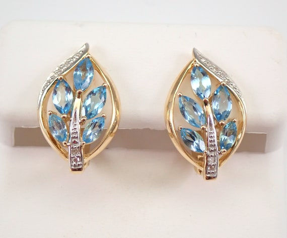 Yellow Gold Blue Topaz and Diamond Cluster Earrings Euro Hinged Clasp December Gemstone