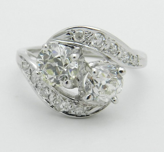 Antique Diamond Ring, Vintage Diamond Ring, 14K White Gold 1.72 ct Old Miner Diamond Statement Ring, Size 6