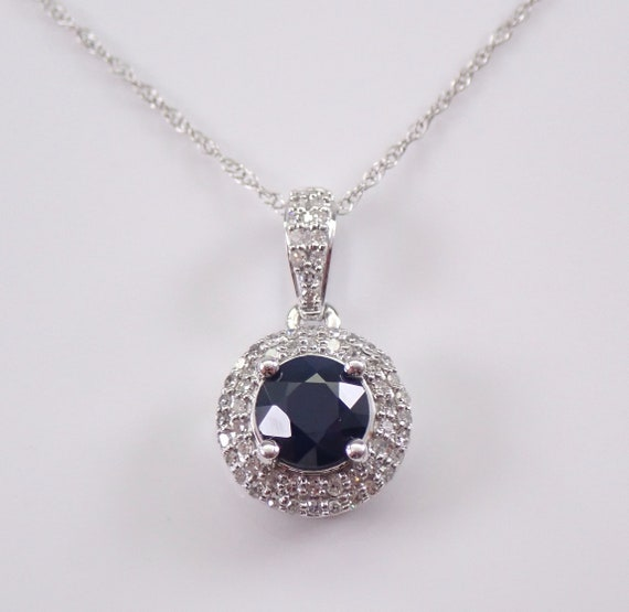 "Diamond and Sapphire Halo Necklace 14K White Gold Pendant 18"" Chain Wedding Gift"