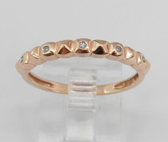 SALE PRICE! Diamond Wedding Ring, Stackable Band, Anniversary Band, Rose Gold Ring, Textured Ring, Size 6.75