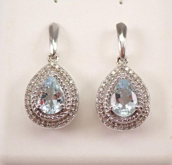 White Gold Diamond and Pear shaped Aquamarine Halo Drop Earrings Dangle March Gemstone