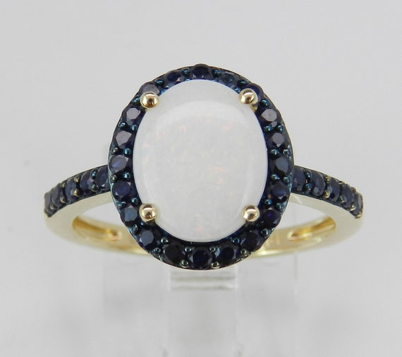 14K Yellow Gold Sapphire and Opal Halo Engagement Ring Unique Promise Size 7