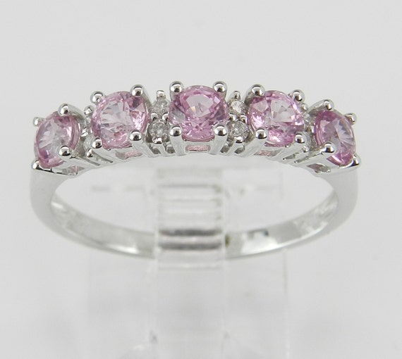 Pink Sapphire Ring, Diamond and Pink Sapphire Ring, Pink Sapphire Wedding Ring, 14K White Gold Anniversary Band, Size 8