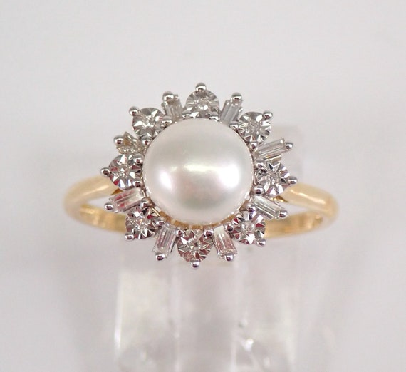 14K Yellow Gold Pearl and Diamond Engagement Ring June Birthstone Gem Size 7 FREE Sizing