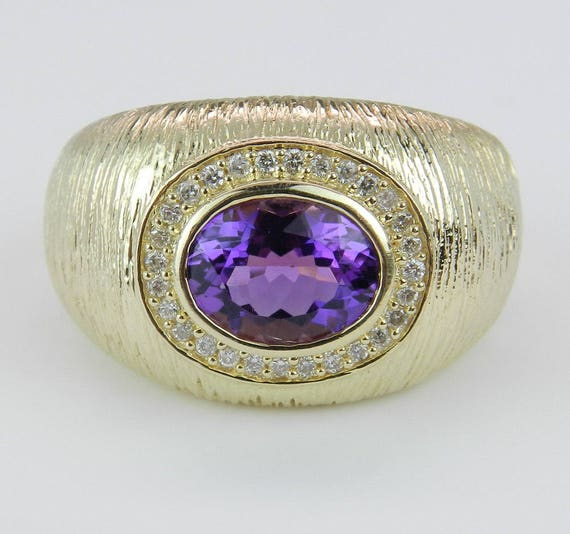 Diamond and Amethyst Ring, 14K Yellow Gold Ring, Textured Right Hand Ring, Amethyst Ring, February Gemstone Ring, Size 7