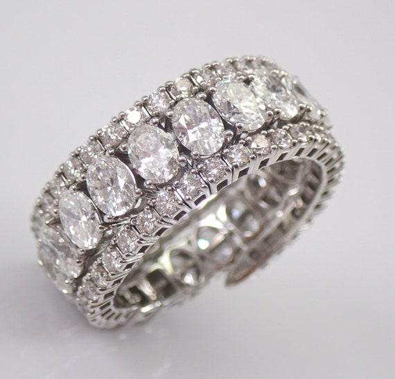 4.25 ct Oval Diamond Eternity Wedding Ring Flexible Anniversary Band 18K White Gold Adjustable Size 6-9