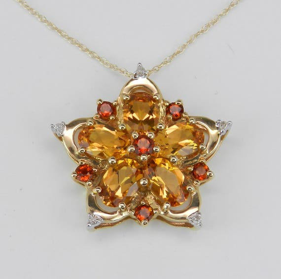 """Citrine Cluster Pendant, Citrine and Diamond Flower Necklace, 14K Yellow Gold Gemstone Necklace, Gold Star Pendant, 18"""" Chain"""