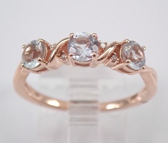 Diamond and Aquamarine Wedding Ring Anniversary Band Rose Gold Size 7 March Gem