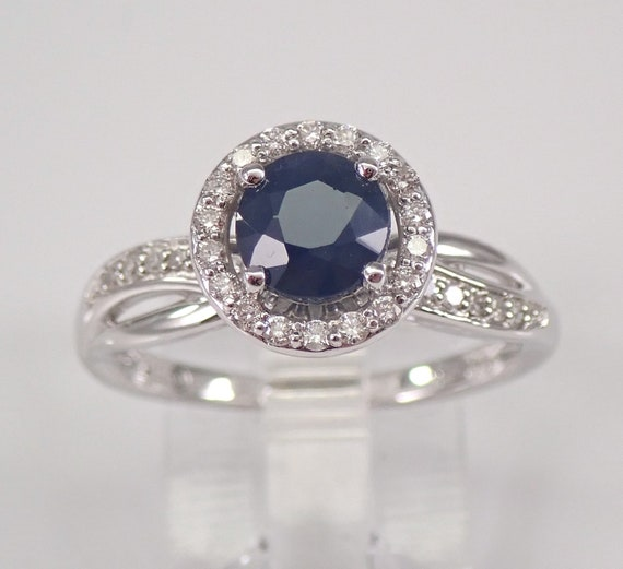 Diamond and Sapphire Halo Engagement Ring 14K White Gold Size 7 September Gemstone