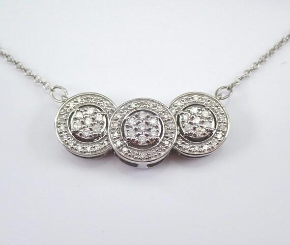 "White Gold Diamond Halo Necklace 17"" Chain Three Stone Cluster Design Choker"