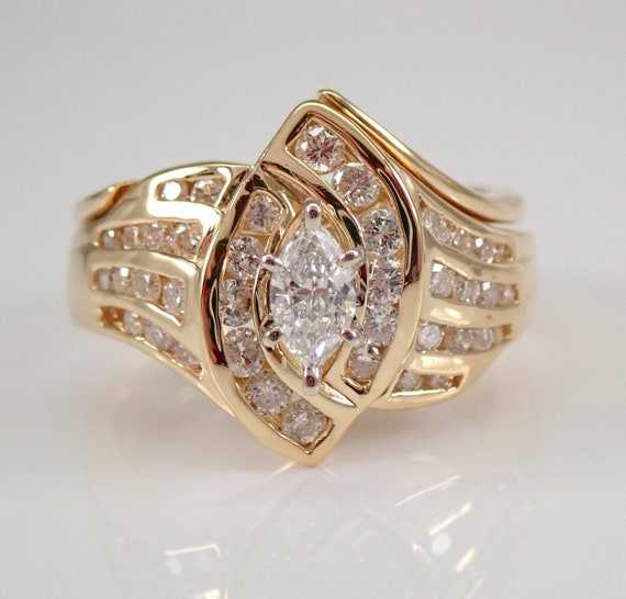 14K Yellow Gold Marquise Brilliant Diamond Engagement Ring Size 6.25 FREE SIZING