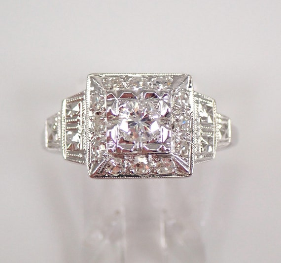 Antique Art Deco 18K White Gold Diamond Engagement Ring Size 9.25 G VS