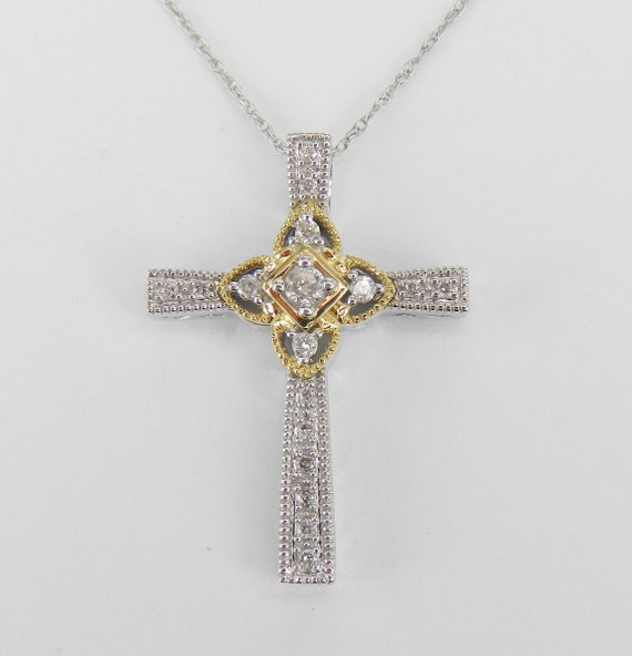 "Unisex White and Yellow Gold Diamond CROSS Pendant Necklace Religious Charm 18"" Chain"