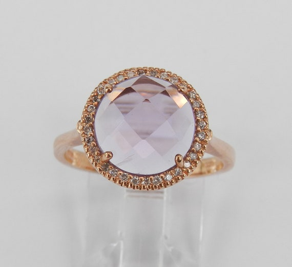 Amethyst and Diamond Ring, Amethyst Engagement Ring, Rose Gold Amethyst Ring, February Gemstone, Rose de France, Size 7