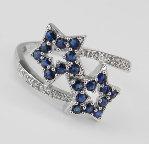 SALE Blue Sapphire and Diamond Ring STAR Ring Bypass Statement Ring White Gold Size 7