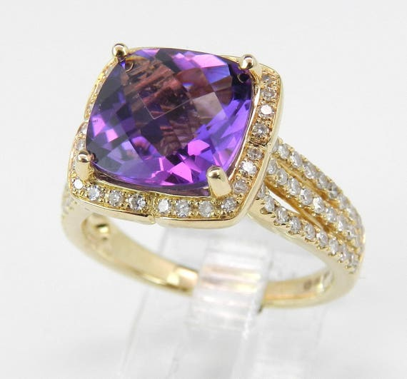 Diamond and Cushion Cut Purple Amethyst Halo Engagement Ring 14K Yellow Gold Size 7