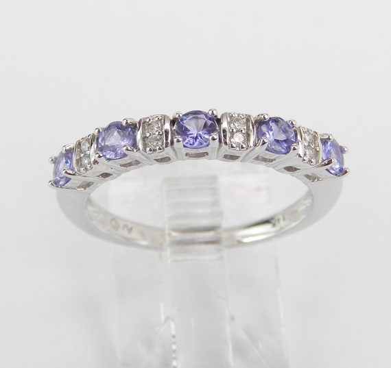 Tanzanite and Diamond Wedding Ring Stackable Anniversary Band 14K White Gold Size 7