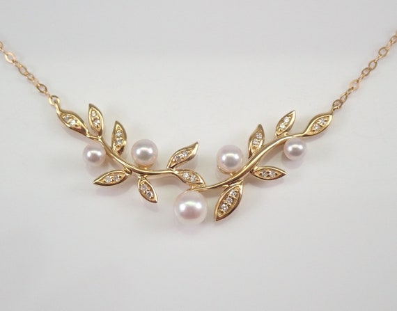 """Pearl and Diamond Necklace set in 14K Yellow Gold Wedding Pendant Necklace Chain 17"""" Leaf Design"""