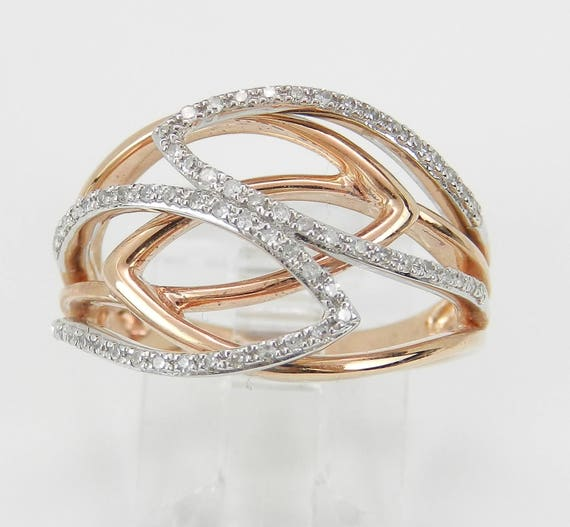 Rose Gold Diamond Crossover Ring Modern Cocktail Band Size 6.75 Perfect Gift