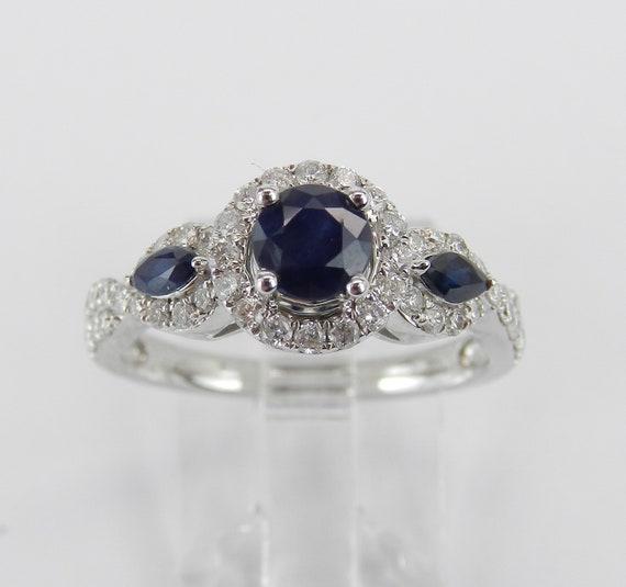 14K White Gold Sapphire and Diamond Halo Three Stone Engagement Ring Size 7