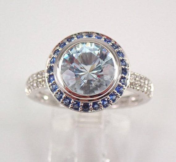 14K White Gold 2.55 ct Diamond Aquamarine Sapphire Halo Engagement Ring Size 7 FREE SIZING