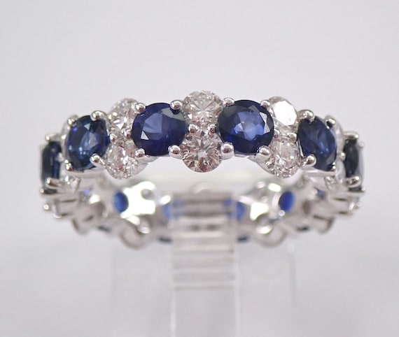 4.91 ct Diamond and Sapphire Eternity Wedding Ring Anniversary Band 18K White Gold Size 6.5