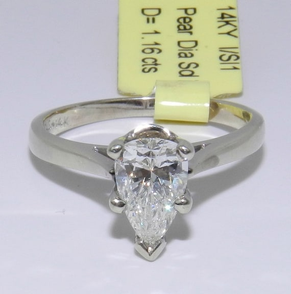 1.16 ct Pear Shape Brilliant SOLITAIRE Diamond Engagement Ring 14K White Gold