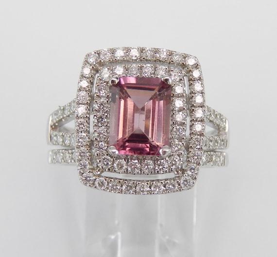Pink Tourmaline and Diamond Engagement Ring, Double Halo Engagement Ring, Wedding Ring Set, 14K White Gold Engagement Ring Wedding Band Set