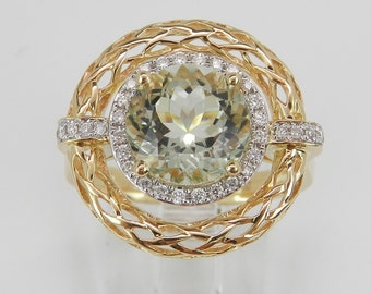 Unique Diamond and Green Amethyst Ring Halo Engagement Ring 14K Yellow Gold Size 7