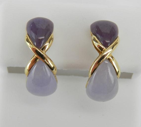 Lavender Jade Earrings, 14K Yellow Gold Jade Earrings, Half Hoop Earrings, Hugs and Kisses, Bridesmaid Gift, Purple Jade Gemstone
