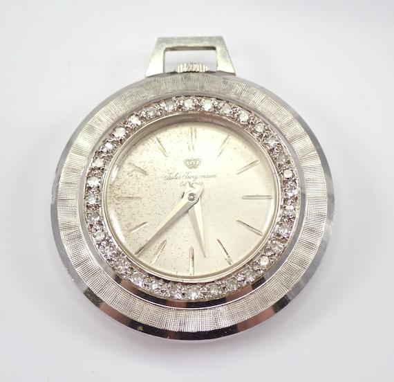 Vintage Rare JULES JURGENSEN 14k White Gold Diamond Pendant Pocket Ladies Watch