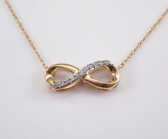 "Yellow Gold Diamond Infinity Necklace Pendant 18"" Chain Graduation Girls Petite Gift"