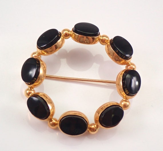 Vintage Antique 14K Yellow Gold Black ONYX Circle Cluster Brooch Pin Pendant 1970's