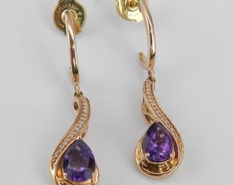 Diamond and Amethyst Dangle Drop Earrings Rose Gold Purple February Gemstone