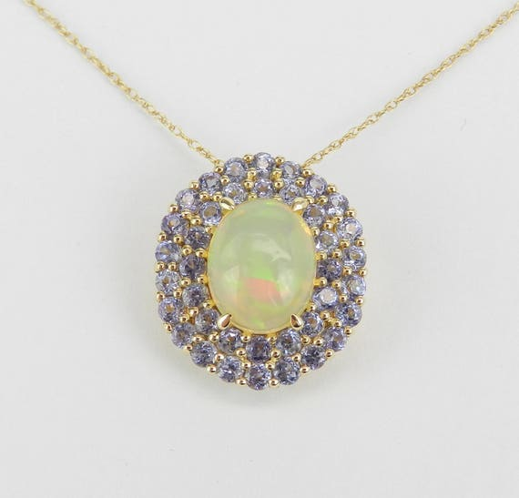 "Vibrant 3.15 carat Opal and Tanzanite Halo Pendant Necklace Yellow Gold 18"" Chain October"