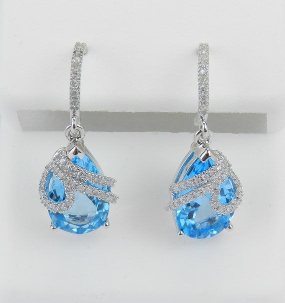 Teardrop White Gold 3.35 ct Pear Shape Blue Topaz Diamond Dangle Drop Earrings